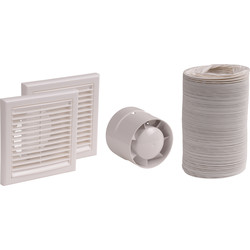 100mm In-Line badkamer ventilator set