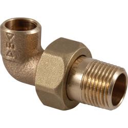 Conex soldeer kniekoppeling conisch 3-delig brons