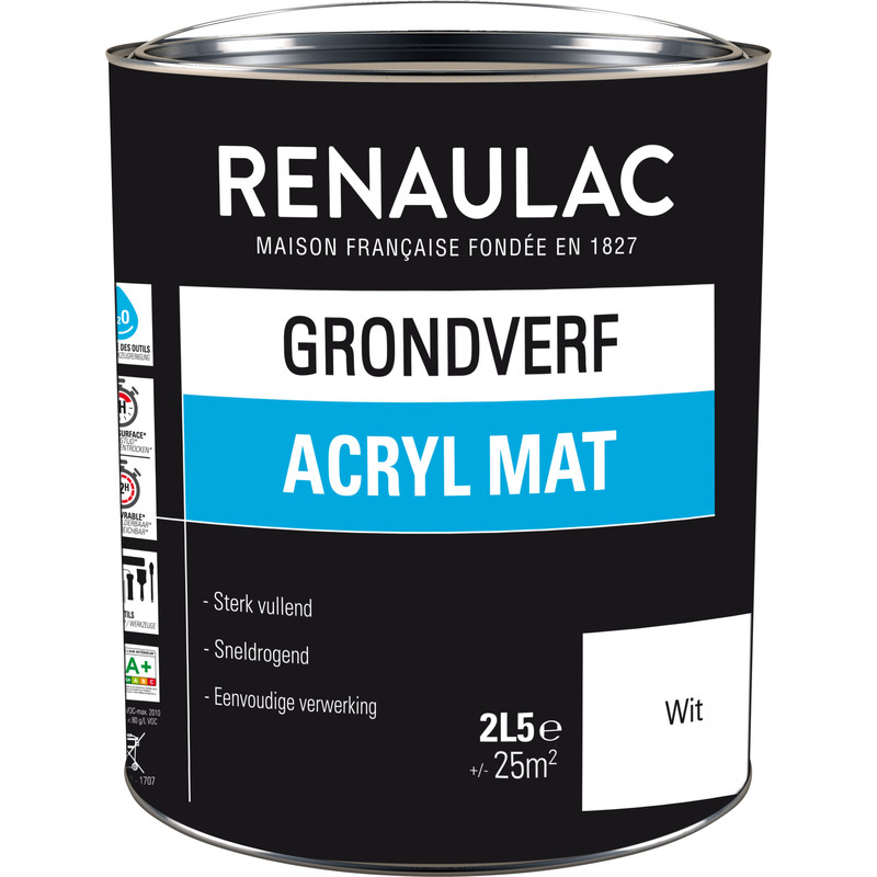 Renaulac grondverf acryl mat 2.5L wit