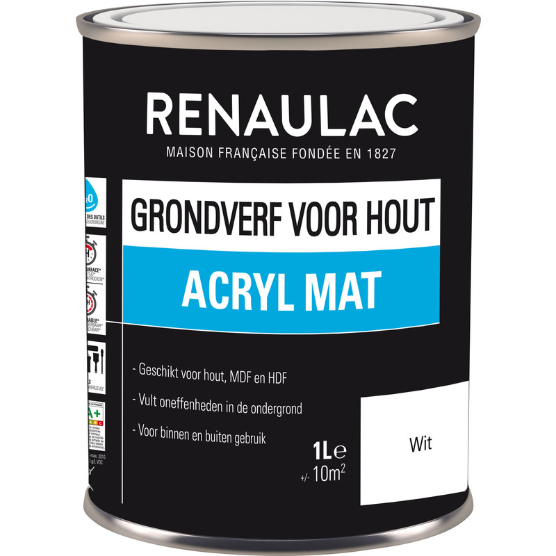 Renaulac grondverf voor hout 1L wit