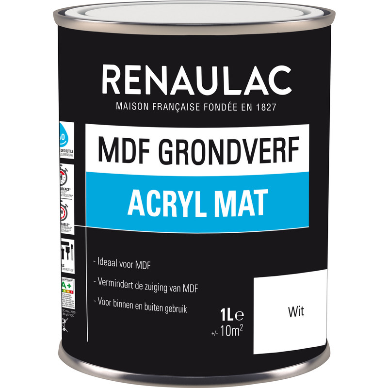 Renaulac MDF grondverf acryl mat 1L wit